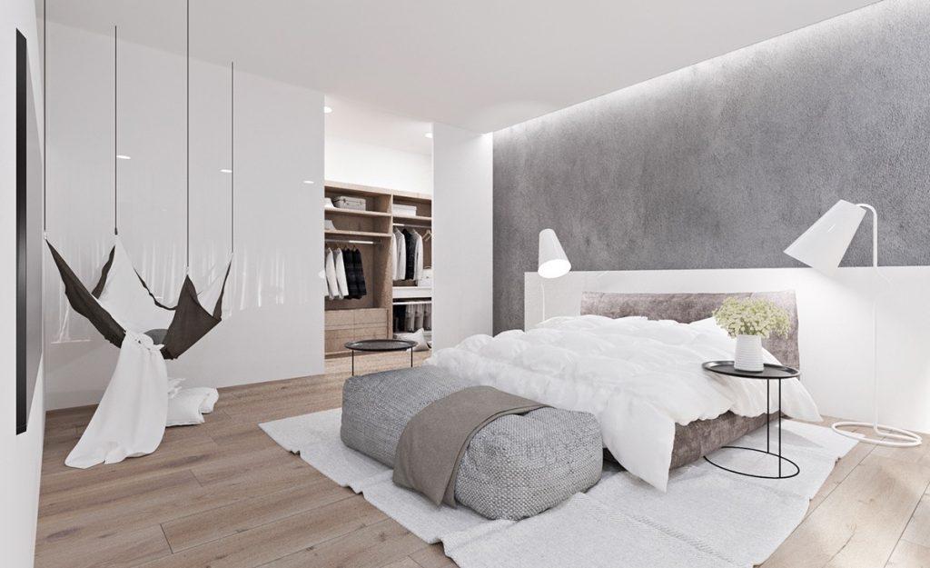 giường ngủ đẹp đơn giản với gam màu trắng