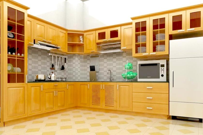 Tủ bếp gỗ pơ mu tự nhiên