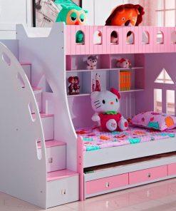 Giường ngủ 2 tầng màu hồng cho bé gái