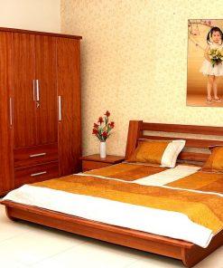 Giường ngủ kiểu Nhật có màu vân gỗ tự nhiên