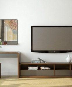 Mẫu kệ tivi kết hợp bàn trang điểm hiện đại