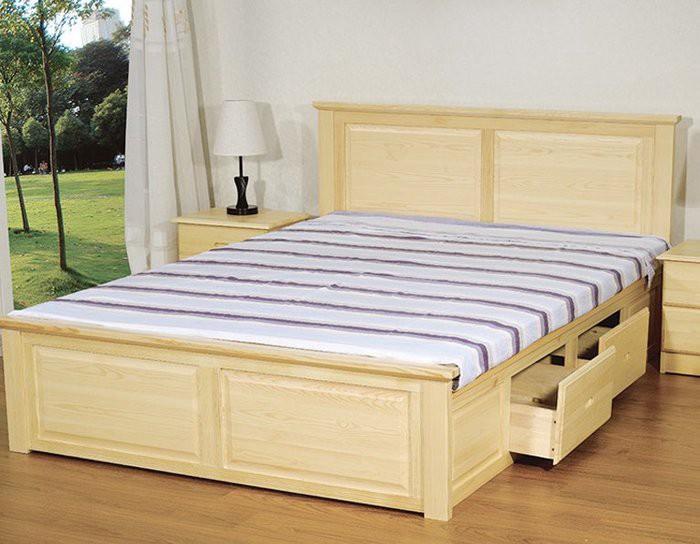 Giường mang tông màu trầm kết hợp cùng những ngăn kéo