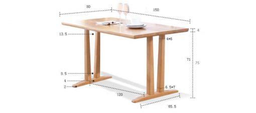 Kích thước bàn ăn hình chữ nhật THS 137