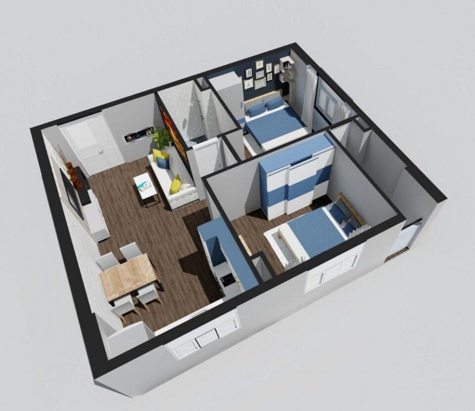 Mẫu thiết kế nội thất chung cư căn hộ 60m2