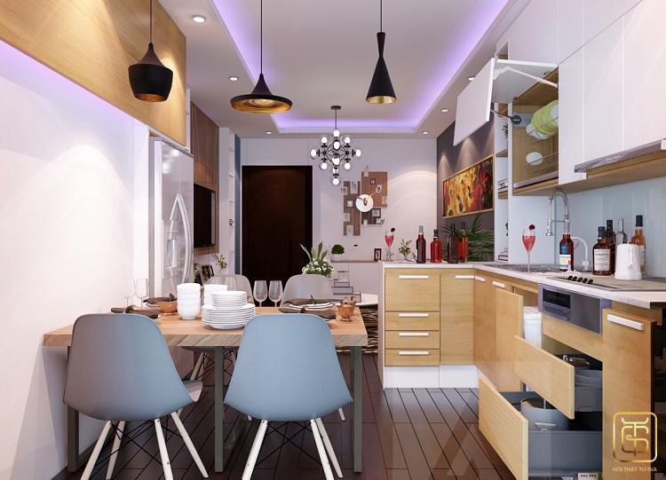 Mẫu nhà bếp đơn giản, gọn gàng dành cho chung cư mini