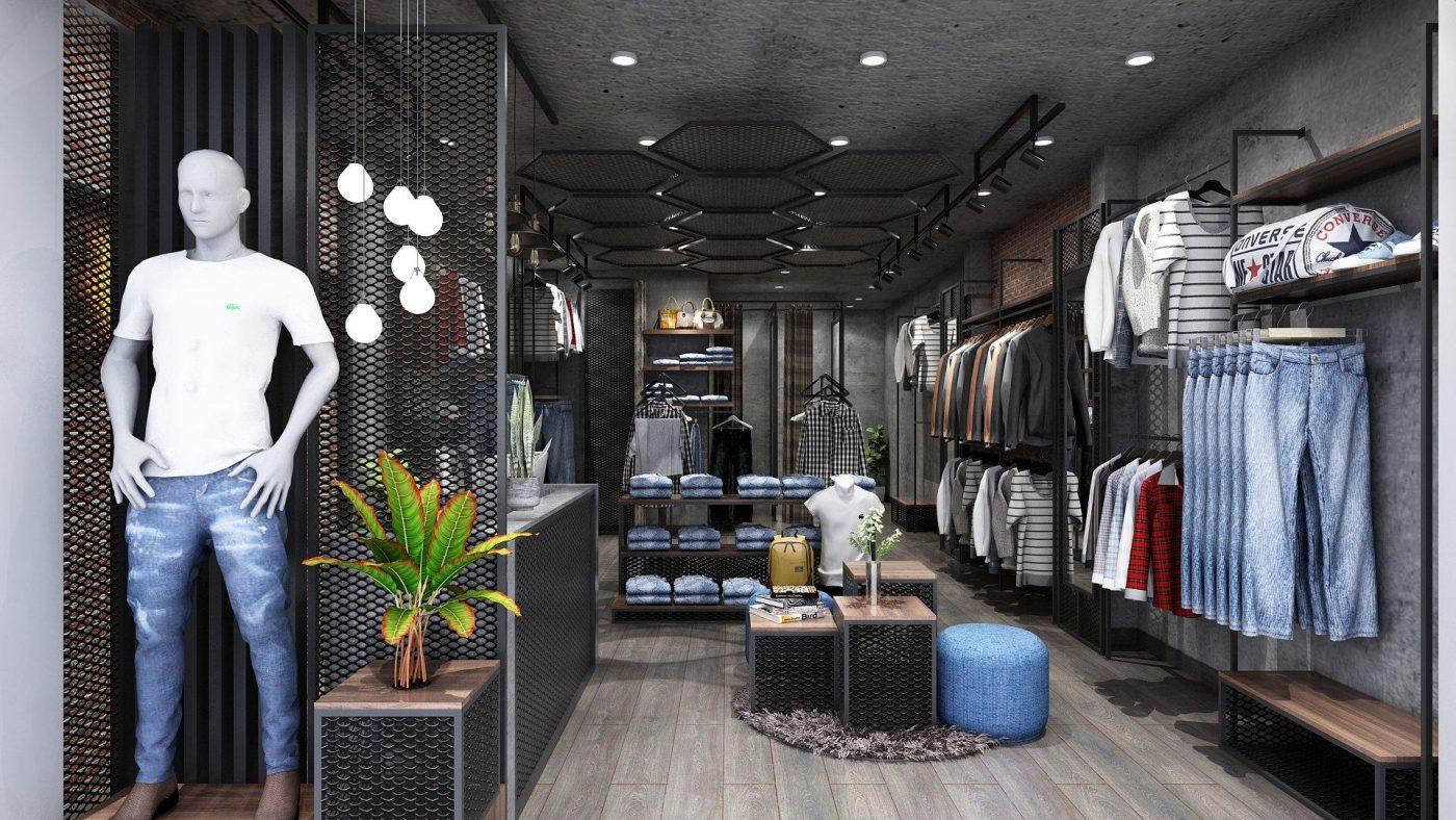 Mẫu thiết kế nội thất shop thời trang nam