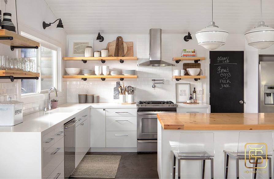 thiết kế nội thất phòng bếp theo phong cách đơn giản
