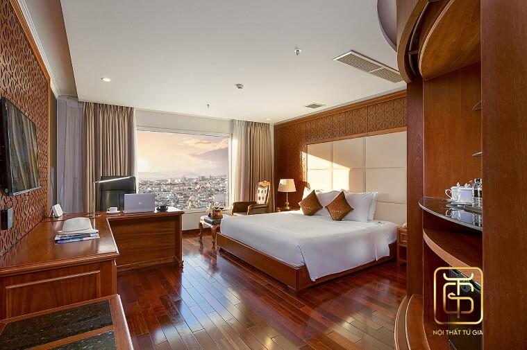thiết kế nội thất khách sạn bằng nội thất gỗ