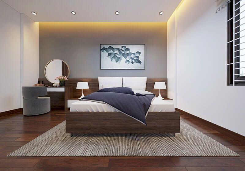 Bố trí nội thất nhà phố mặt tiền 6m đẹp - Phòng ngủ 3