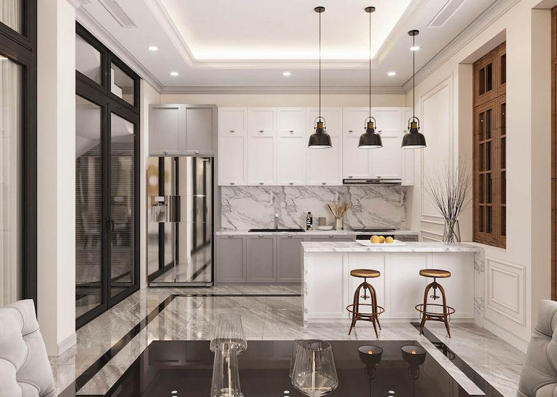 Không gian phòng bếp tân cổ điển