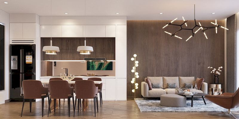 Thiết kế phòng bếp + ăn nhà phố mặt tiền 4m
