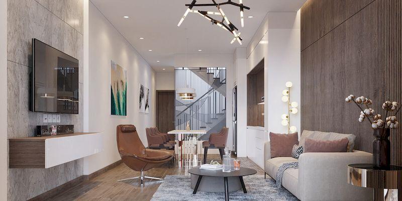Thiết kế phòng khách nhà phố mặt tiền 4m