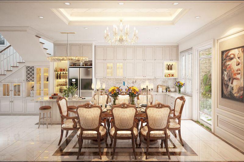Bản vẽ thiết kế nội thất nhà phố 100m2 đẹp - Phòng bếp