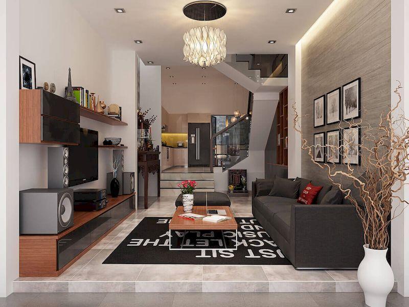 Bố trí nội thất phòng khách nhà phố mặt tiền 5m