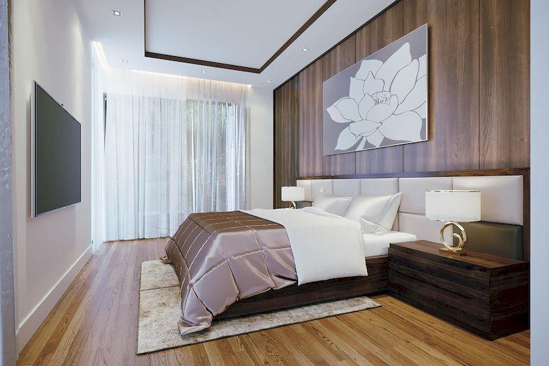 Bố trí nội thất nhà phố mặt tiền 6m đẹp - Phòng ngủ 1
