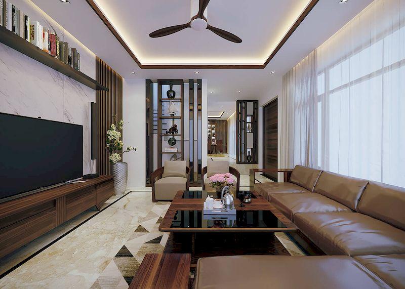Bố trí nội thất nhà phố mặt tiền 6m đẹp - Phòng khách