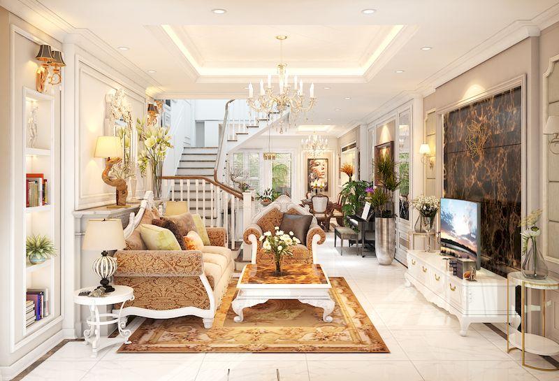 Bản vẽ thiết kế nội thất nhà phố 100m2 đẹp - Phòng khách