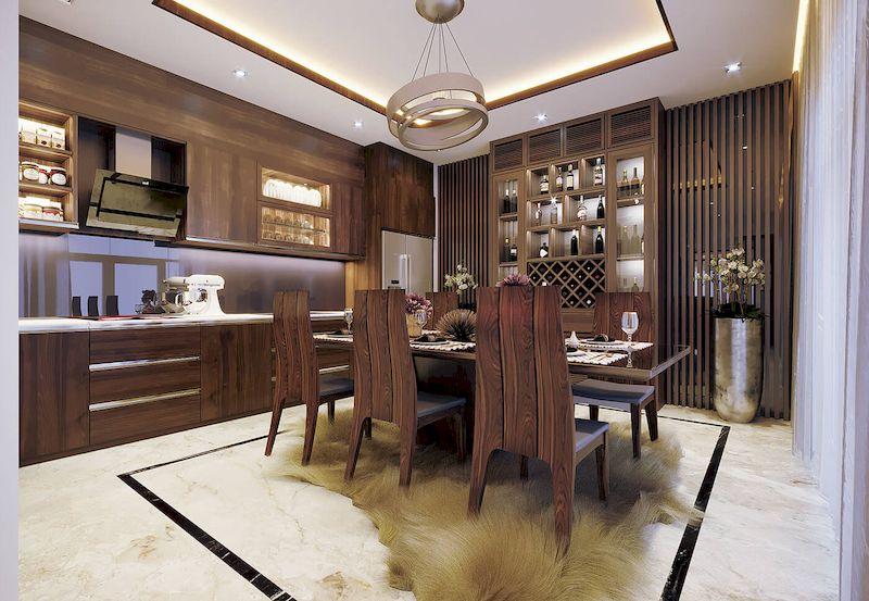 Bố trí nội thất nhà phố mặt tiền 6m đẹp - Phòng ăn + bếp