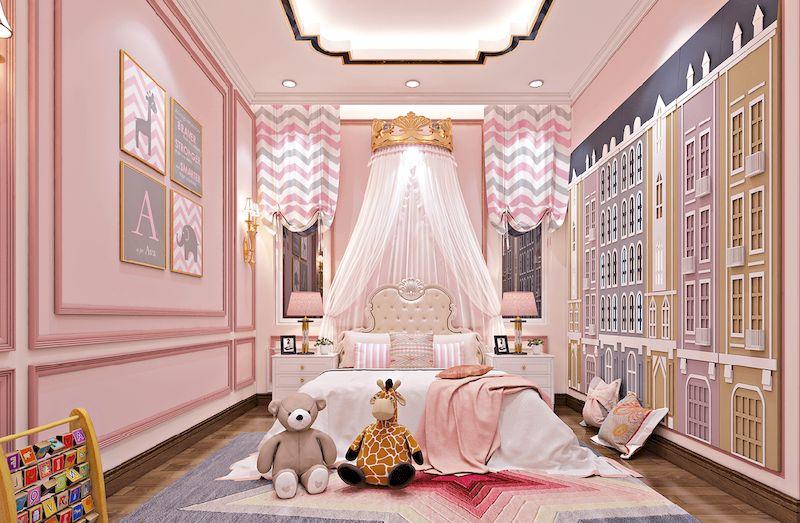 Nội thất phòng ngủ bé gái nhà phố hiện đại