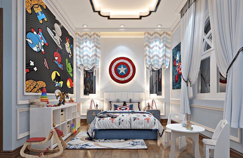 Nội thất phòng ngủ bé trai nhà phố hiện đại