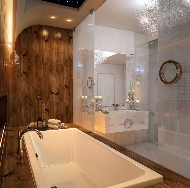Mẫu thi công nội thất phòng tắm được thực hiện bởi Tứ Gia