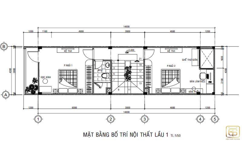 Bản vẽ thiết kế nội thất nhà ống mặt tiền 4m