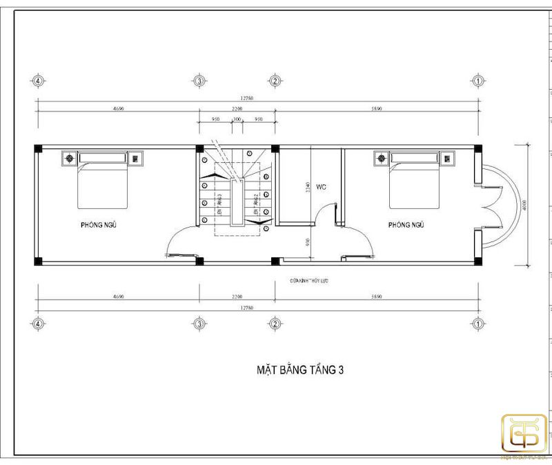 Mặt bằng công năng nhà ống 4 tầng - T3