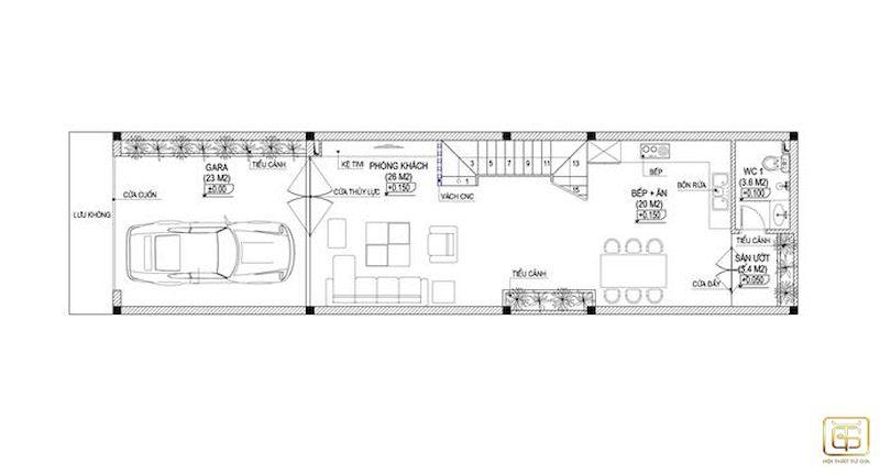 Nội thất nhà ống mặt tiền 6m