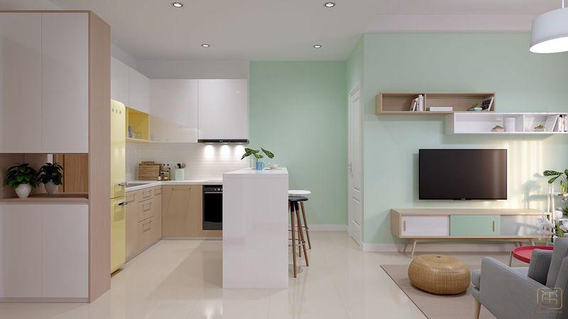 Mẫu thiết kế nội thất căn hộ chung cư 1 phòng ngủ 45m2 đẹp - View 3