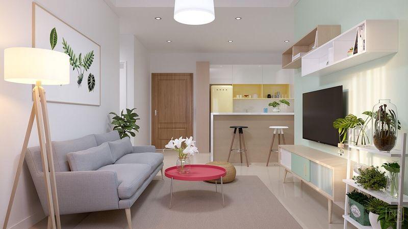 Mẫu thiết kế nội thất căn hộ chung cư 1 phòng ngủ 45m2 đẹp - View 2