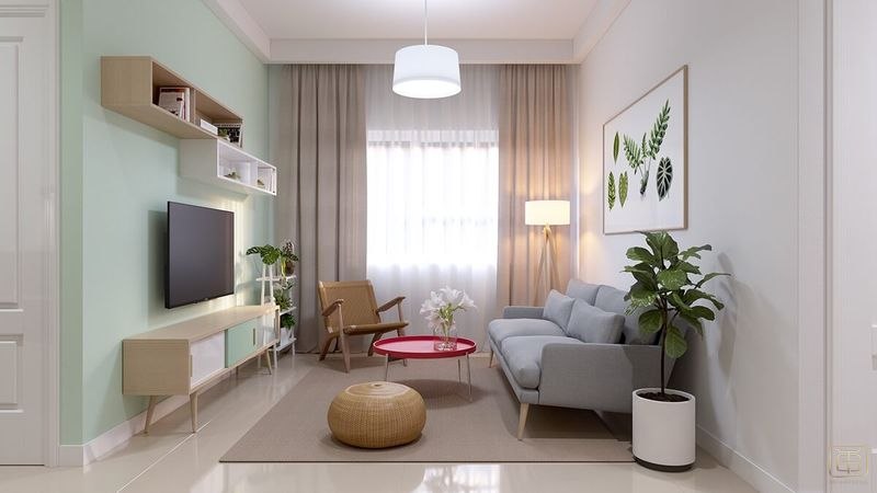 Mẫu thiết kế nội thất căn hộ chung cư 1 phòng ngủ 45m2 đẹp - View 1