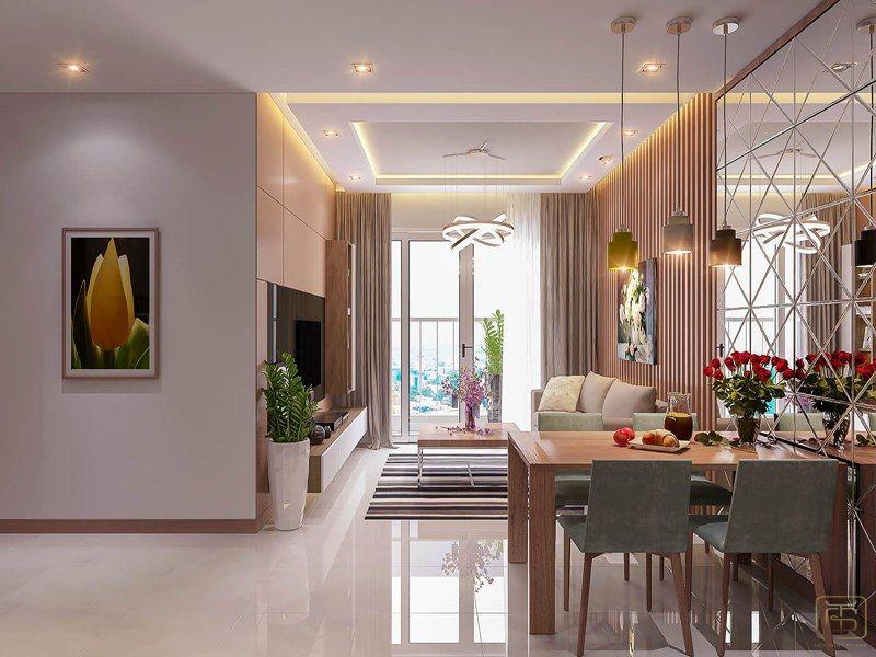 Thiết kế nội thất chung cư 2 phòng ngủ phòng khách
