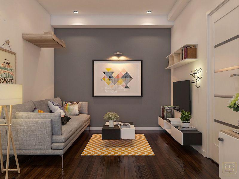 Thiết kế phòng khách căn hộ 2 phòng ngủ