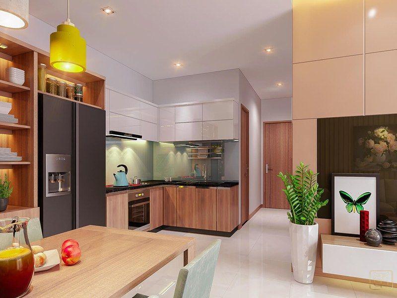 Thiết kế nội thất phòng bếp trong căn hộ 2 phòng ngủ